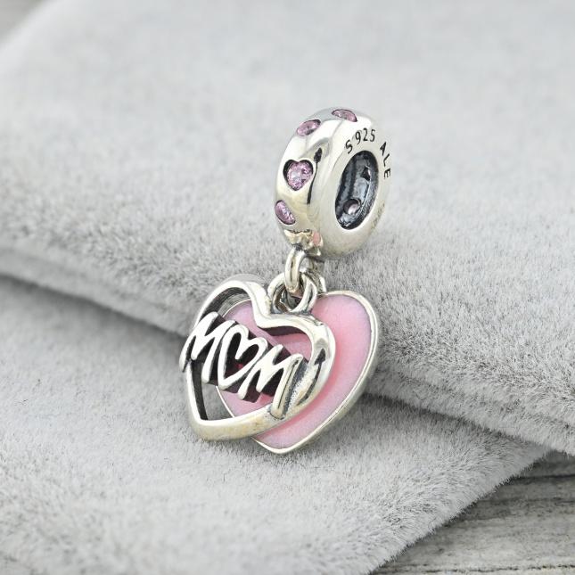 Срібний шарм ТС580698р розмір 20х11 мм вставка рожева емаль рожеві фіаніти вага 2.9 г