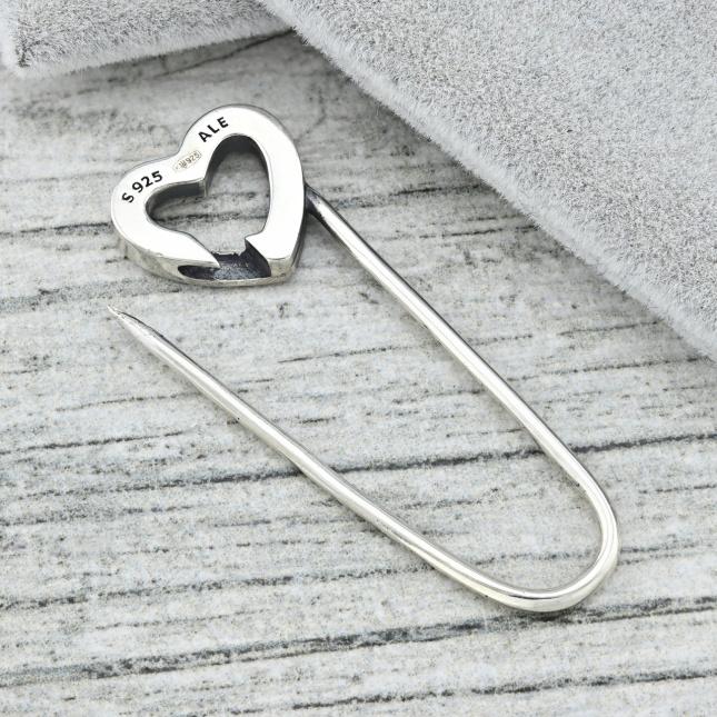 Срібна шпилька з сердечком ТС590030 розмір 40х13 мм вага 2.7 г