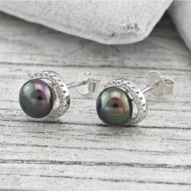 Срібні сережки ТС629расп різні відтінки перлів розмір 11х9 мм вставка штучні перли білі фіаніти вага 2.8 г