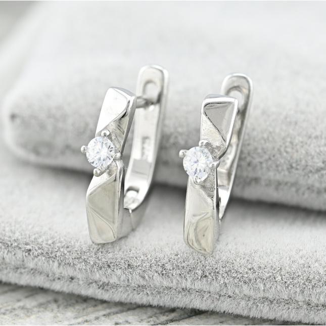 Срібні сережки ТС6462расп2 трохи різний крапки розмір 14х3 мм вставка білі фіаніти вага 3.2 г