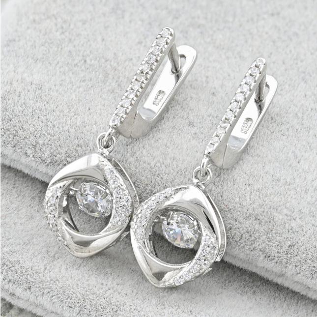 Срібні сережки ТС8090расп мутнуваті камені розмір 29х11 мм вставка білі фіаніти вага 5.2 г